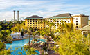 An overviewhead view of the expansive Royal Pacific Resort pool at Universal Orlando.
